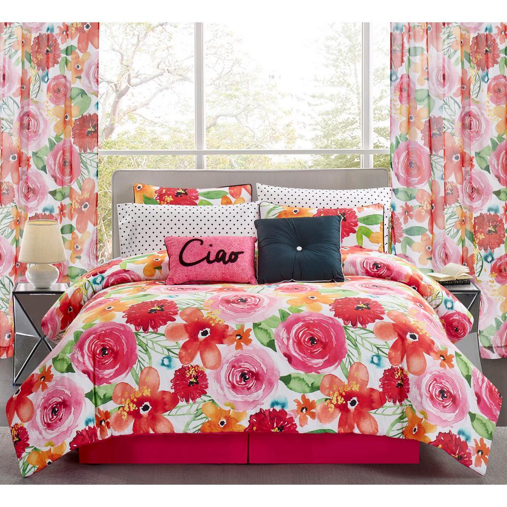 Sara B. Santa Monica 4-Piece Pink and Red Queen Comforter Set