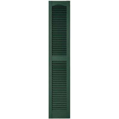 12 in. x 64 in. Louvered Vinyl Exterior Shutters Pair in #028 Forest Green