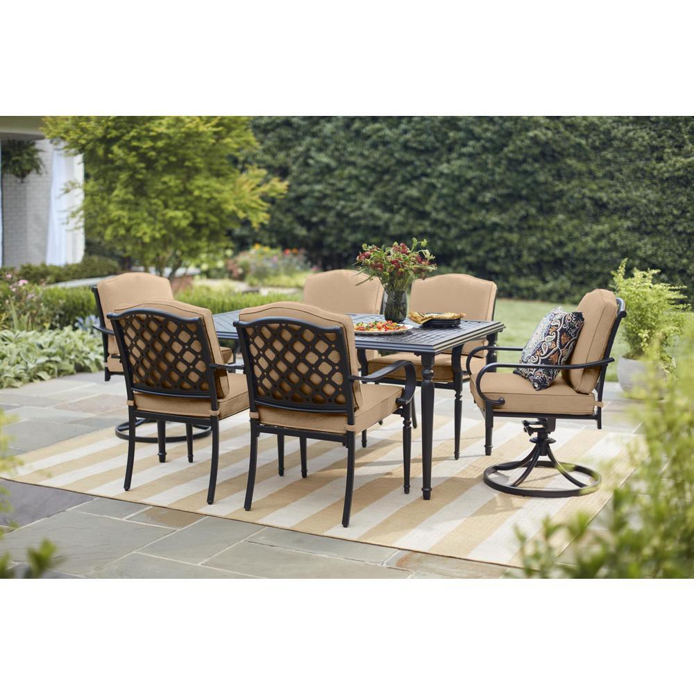 Laurel Oaks 7-Piece Brown Steel Outdoor Patio Dining Set with Sunbrella Beige Tan Cushions