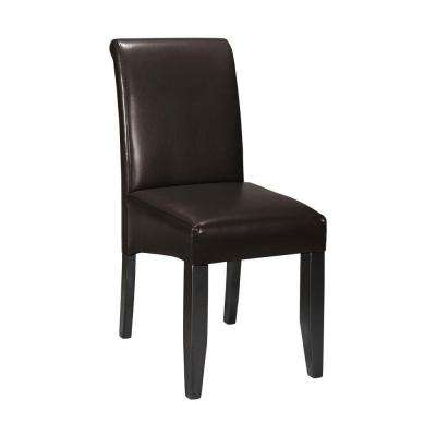 parsons espresso bonded leather rolled back dining chair