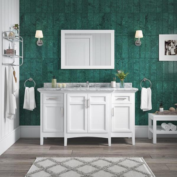 Home Decorators Collection Sassy 60 In Vanity In White With Marble Vanity Top In Carrara White Bf90225 The Home Depot