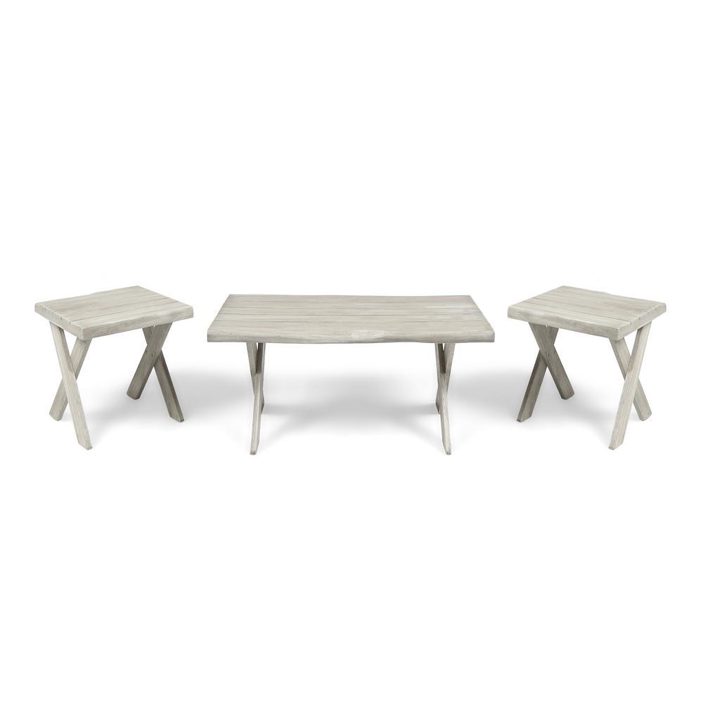 Esmeralda Indoor Farmhouse 3-Piece Light Gray Acacia Wood Table Set