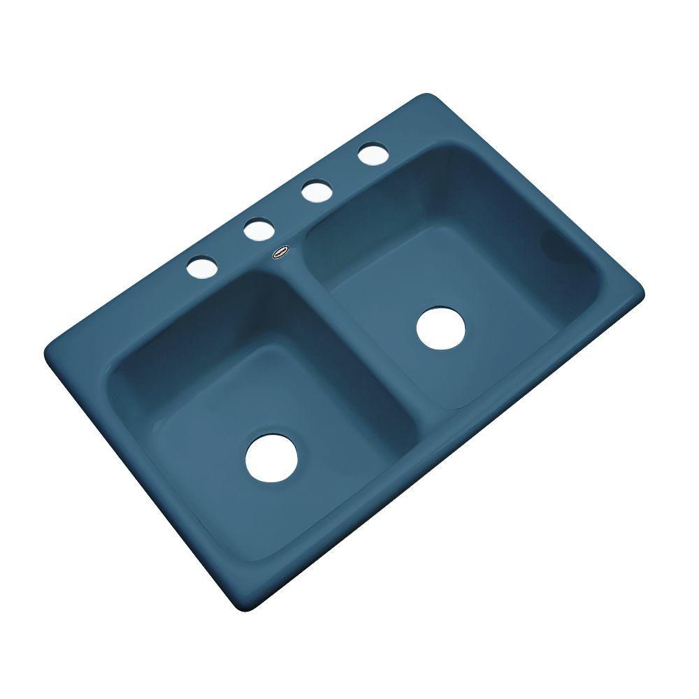 Thermocast Newport Drop-in Acrylic 33x22x9 in. 4-Hole Double Basin Kitchen Sink in Rhapsody Blue
