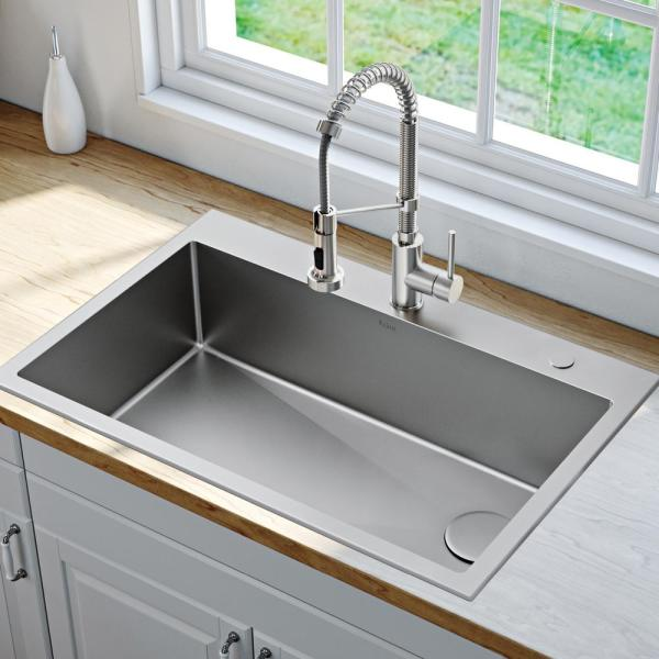 Kraus Loften All In One Dual Mount Drop In Stainless Steel 33 In 2 Hole Single Bowl Kitchen Sink With Pull Down Faucet Kch 1000 The Home Depot