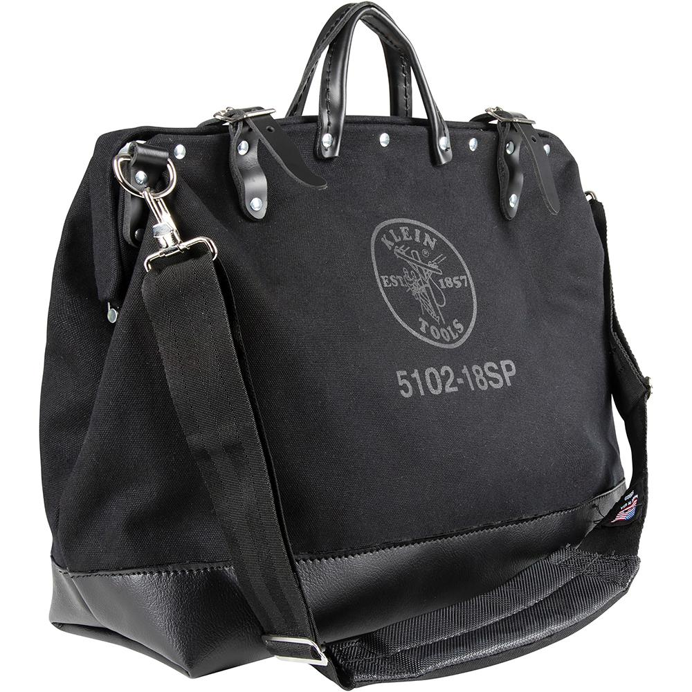 Klein Tools 18 in. Deluxe Canvas Tool Bag with Shoulder Strap in Black