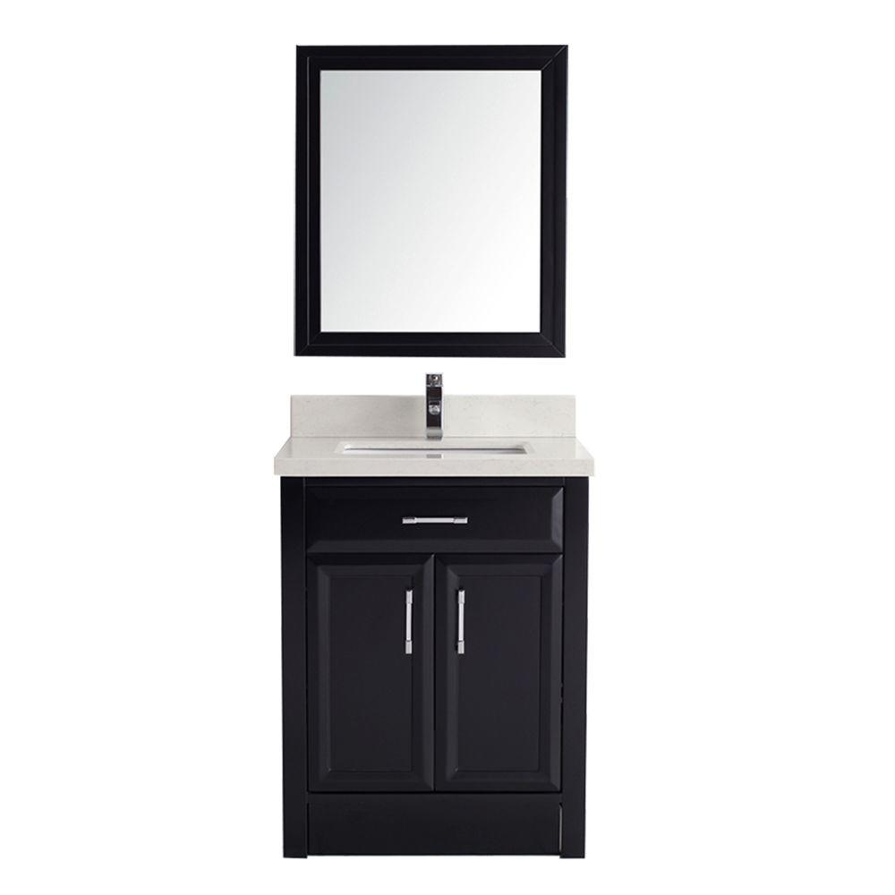 Studio Bathe Calais 28 in. Vanity in Espresso with Solid Surface Marble Vanity Top in Carrara White and Mirror