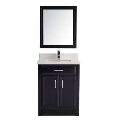 Calais 28 in. Vanity in Espresso with Solid Surface Marble Vanity Top in Carrara White and Mirror