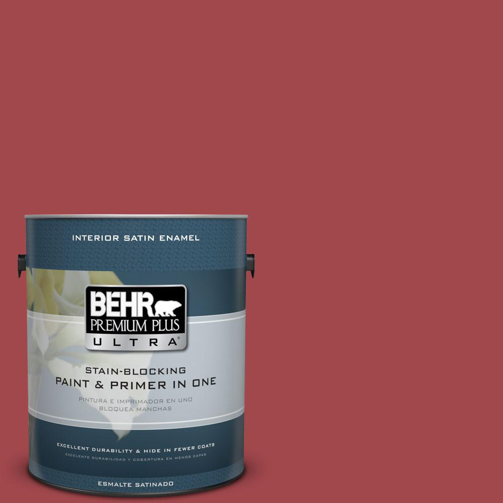 BEHR Premium Plus Ultra 1-gal. #ICC-107 Crimson Satin Enamel Interior Paint
