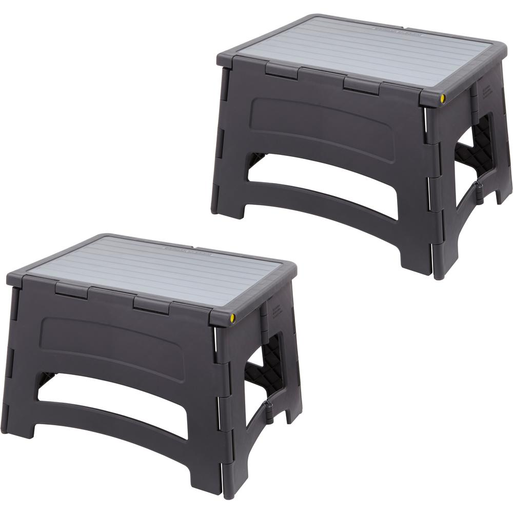 Gorilla Ladders 1-Step Plastic Folding Step Stool Ladder with a 300 lbs. Capacity (2-Pack)