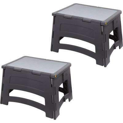 1-Step Plastic Folding Step Stool Ladder with a 300 lbs. Capacity (2-Pack)