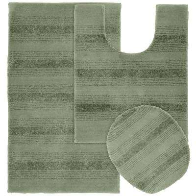 Essence Deep Fern 21 in. x 34 in. Washable Bathroom 3-Piece Rug Set