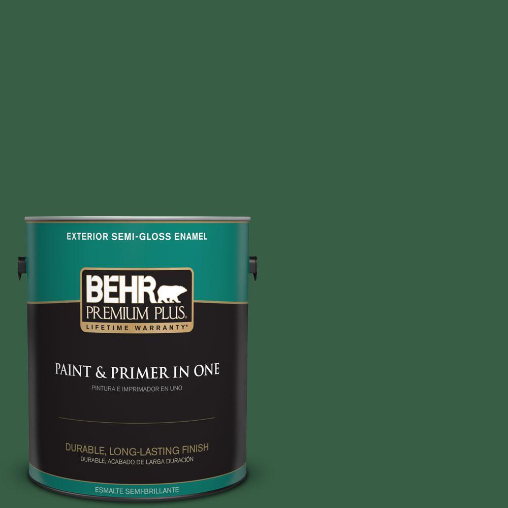 BEHR Premium Plus 1-gal. #470D-7 Windy Pine Semi-Gloss Enamel Exterior Paint