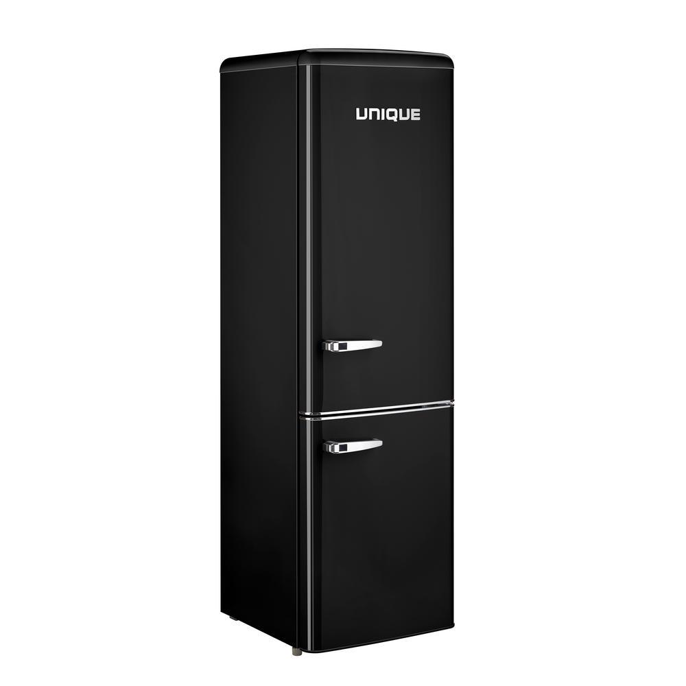 Retro 21.6 in. 9 cu. Ft. Bottom Freezer Refrigerator in Black