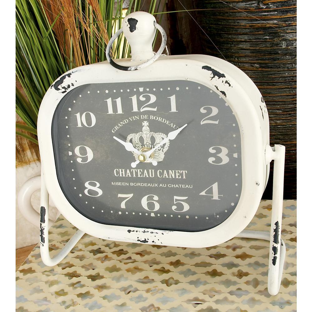 9 in. x 9 in. White Rounded Rectangular French Traveler Table Clocks (Set of 2)