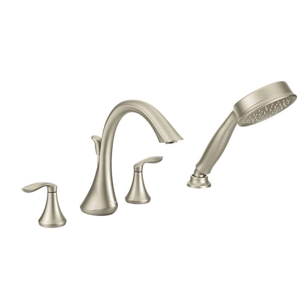 Moen Eva 2 Handle Deck Mount Roman Tub Faucet Trim Kit With Handshower In