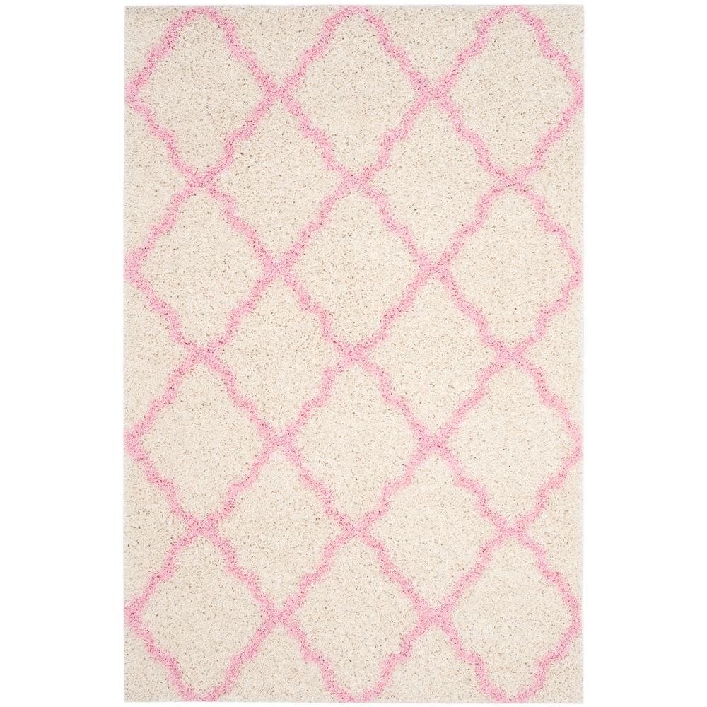 Safavieh Dallas Shag Ivory/Light Pink 6 Ft. X 9 Ft. Area