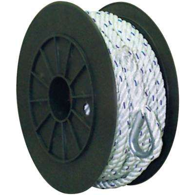 1/2 in. x 150 ft. Strand Twisted Nylon Anchor Line, White with Blue Tracer