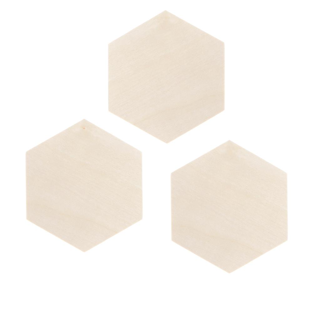 Hexagon Shapes in Unfinished Wood