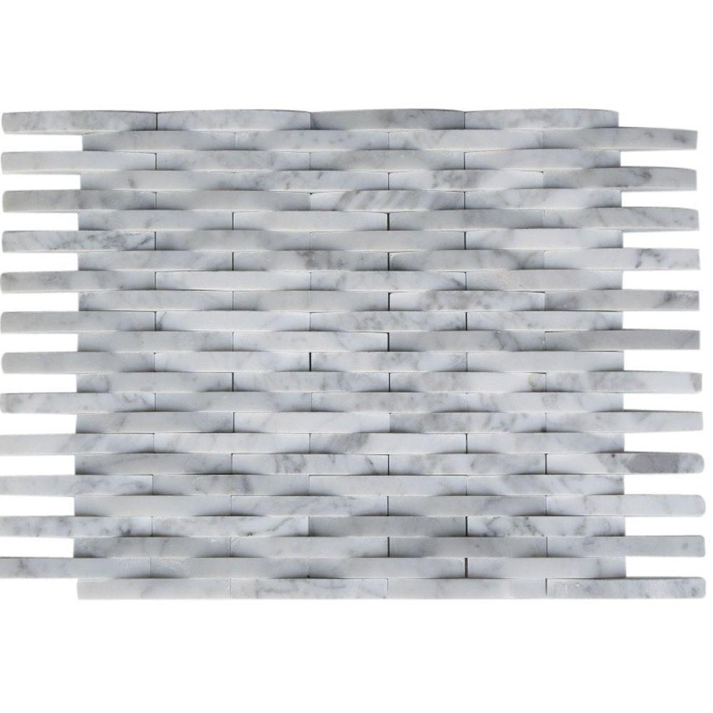 Splashback Tile 3D Reflex White Carrera 9 in. x 11.5 in. x 8 mm Marble Mosaic Wall Tile