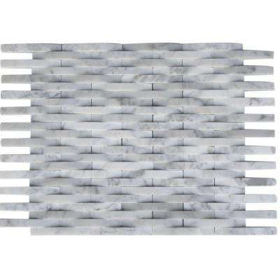 3D Reflex White Carrera 9 in. x 11.5 in. x 8 mm Marble Mosaic Wall Tile