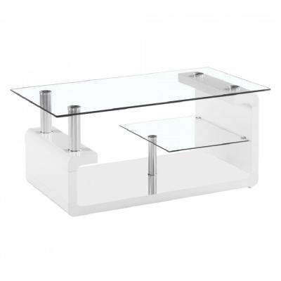 Elegant 2-Tier Tempered Glass Coffee Table with High Glossy White Base