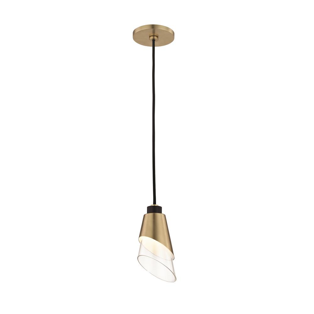 Angie 1-Light Aged Brass LED Pendant with Clear Glass and Black Accents