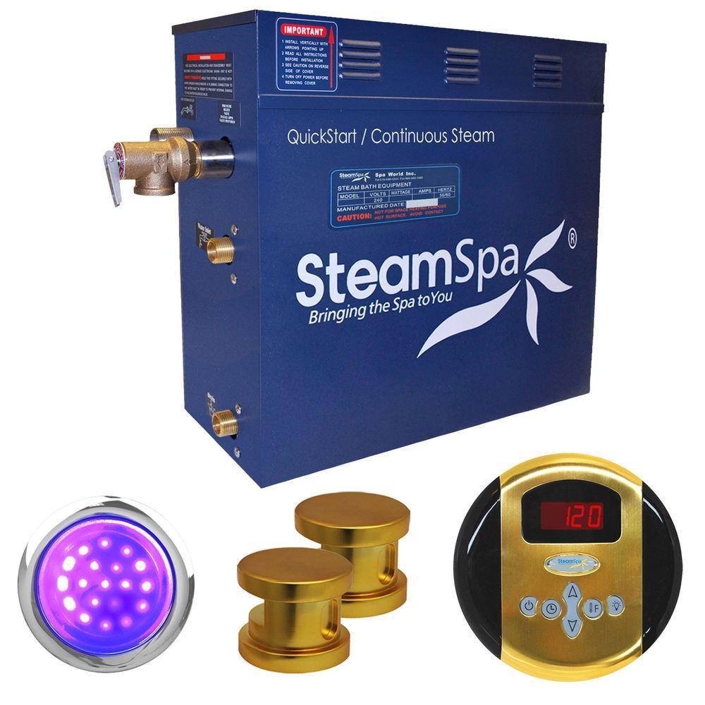 SteamSpa Indulgence 12kW Steam Bath Generator Package in Polished Brass by SteamSpa