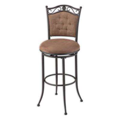 30 in. Helena Metal Bar Stool with Cocoa Microfiber Swivel-Seat and Umber Metal Frame Finish