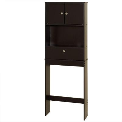 23 in. W x 65-1/10 in. H x 7-19/50 in. D Over the Toilet Storage Cabinet in Espresso