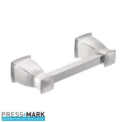 Hensley Pivoting Double Post Toilet Paper Holder with Press and Mark in Chrome