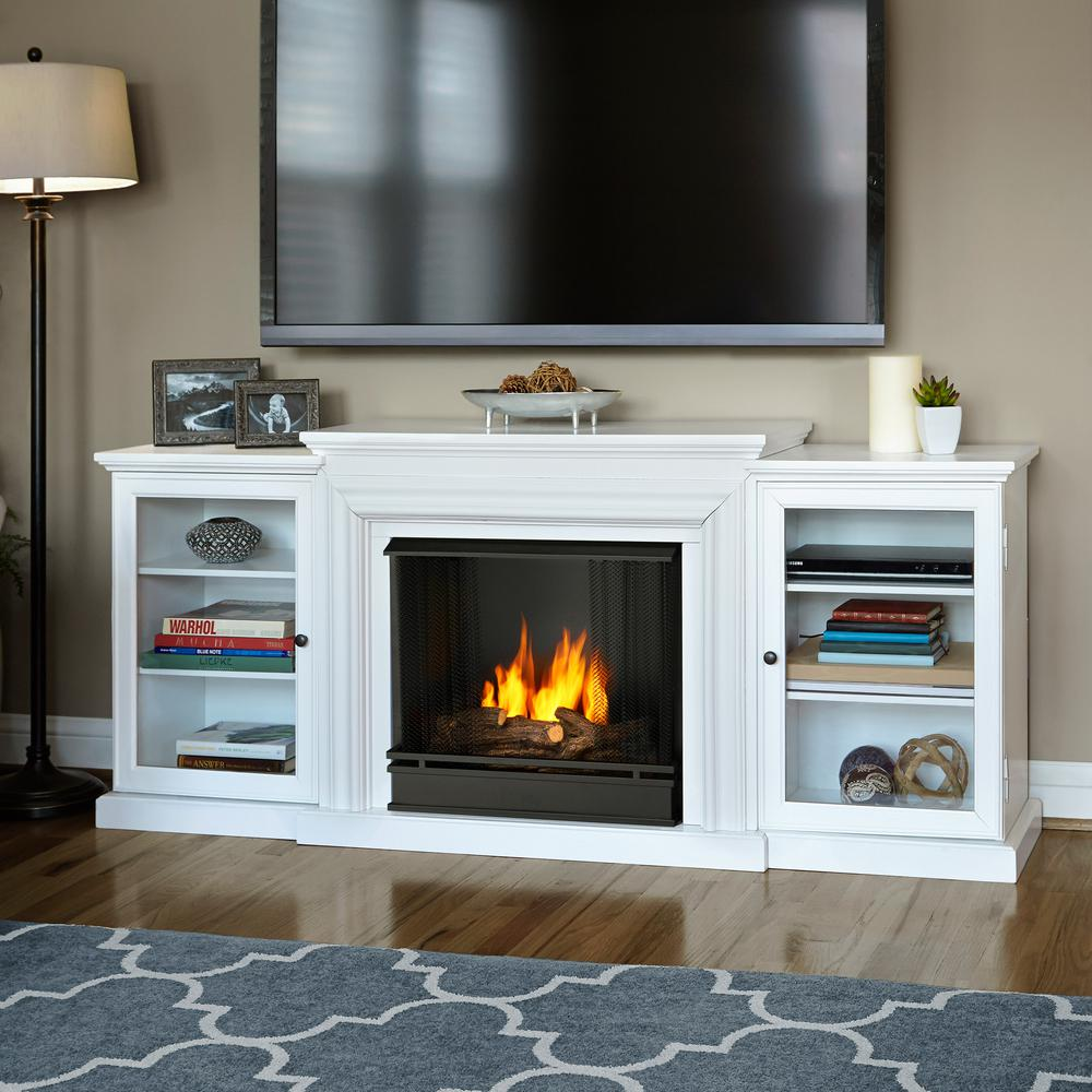 Make your residence spectacular by using this Real Flame Frederick Entertainment Center Ventless Gel Fuel Fireplace in White.