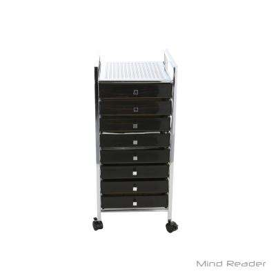 Top Shelf Metal 4-Wheeled Storage Drawer Cart with 8-Drawers in Silver/Black
