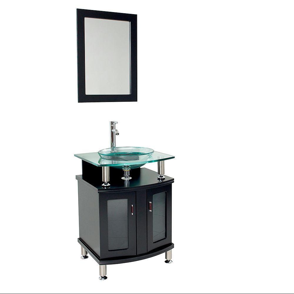 Fresca Contento 24 In Vanity In Espresso With Glass