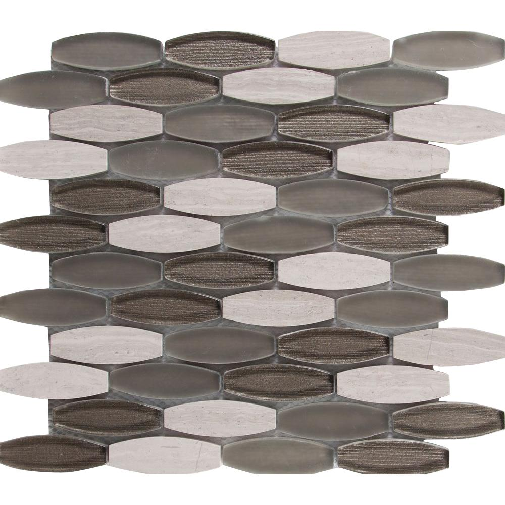 Ellipse Gris 12 in. x 12 in. x 8mm Glass Stone