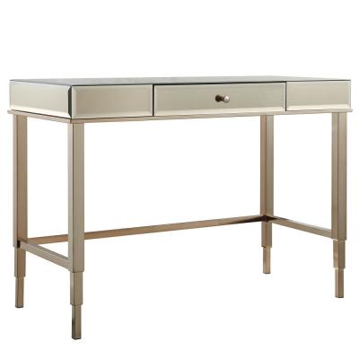 43 in. Rectangular Champagne Brass 1 Drawer Writing Desk with Built-In Storage