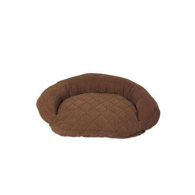Small Chocolate Microfiber Quilted Bolster Bed with Moister Protection
