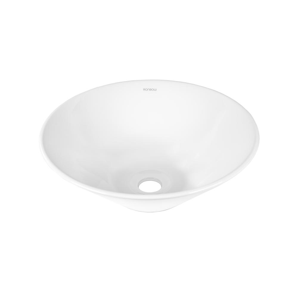 Attractive Ronbow Essentials Round Geometric Ceramic Vessel Sink In White 200006 WH    The Home Depot