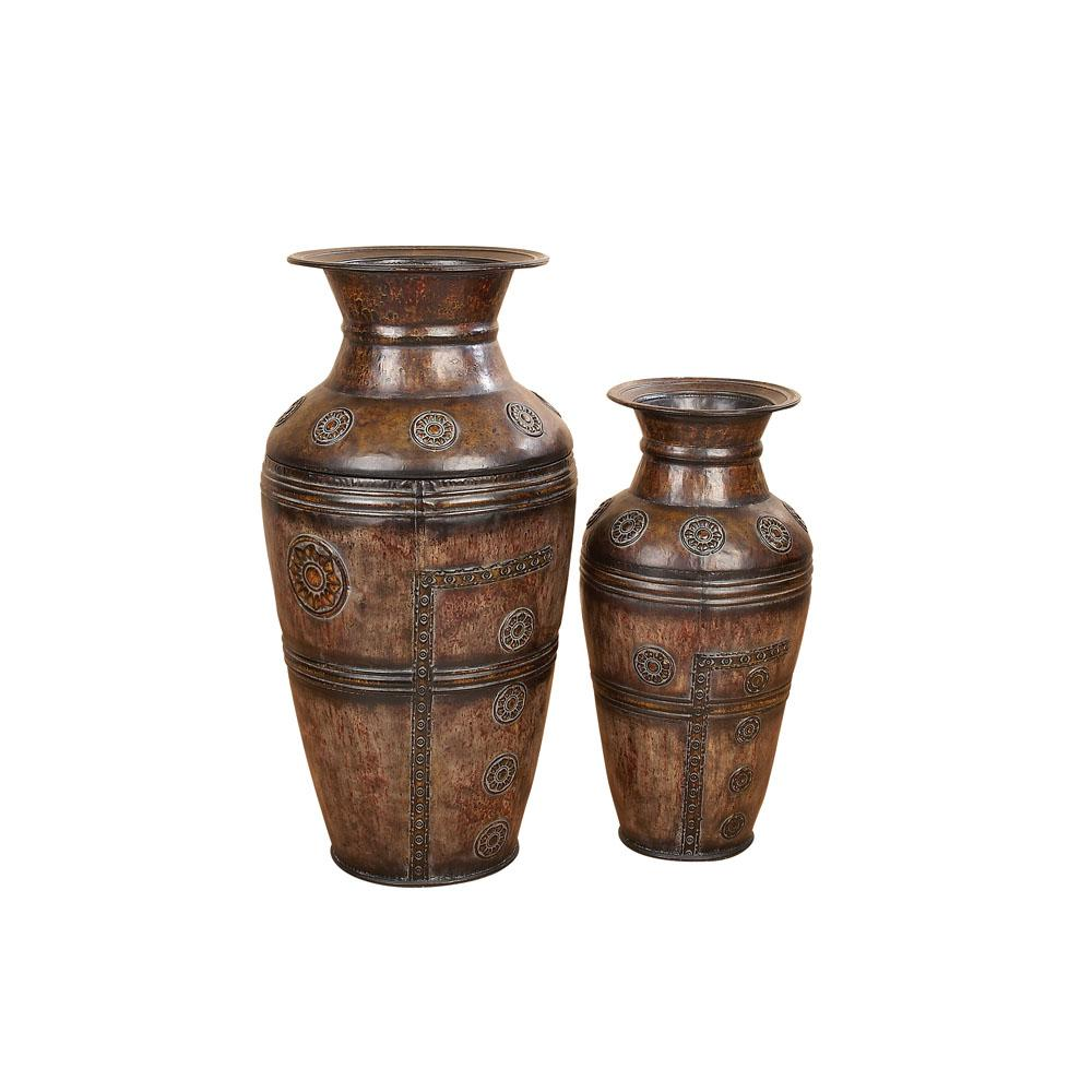 Antique Brown Iron Decorative Floor Vases (Set of 2)