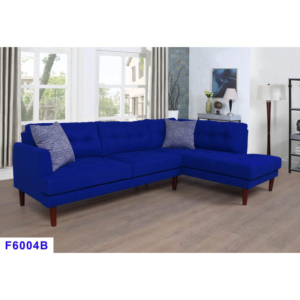 Azure Blue Left 2-Piece Sectional Sofa Set