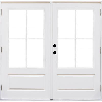 72 in. x 80 in. Fiberglass Smooth White Right-Hand Outswing Hinged 3/4-Lite Patio Door with 4-Lite SDL