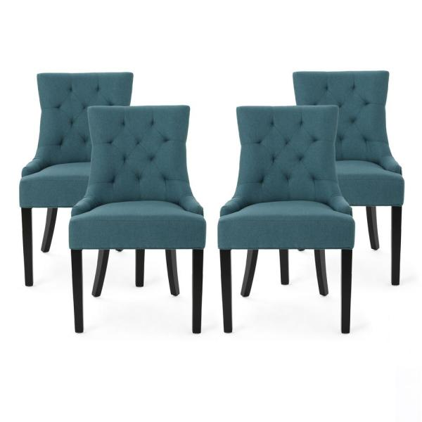 Hayden Dark Teal Fabric Upholstered Dining Chair (Set of 4)