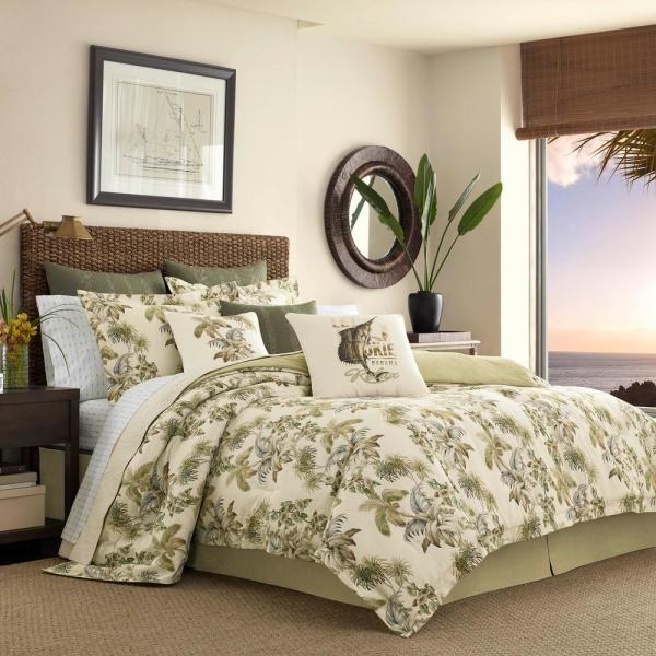 Nador 4-Piece Medium Beige Botanical Cotton California King Comforter Set