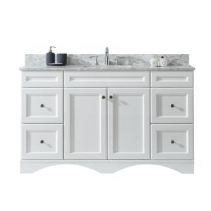 Virtu USA Talisa 60 inch W x 22 inch D Single Vanity in White with Marble Vanity Top in... by Virtu USA