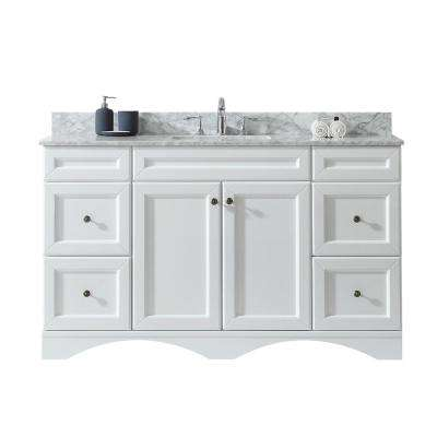 Talisa 60 in. W x 22 in. D Single Vanity in White with Marble Vanity Top in Carrara White with White Basin