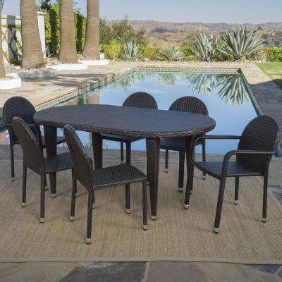 Asher Multi-Brown 7-Piece Wicker Outdoor Dining Set