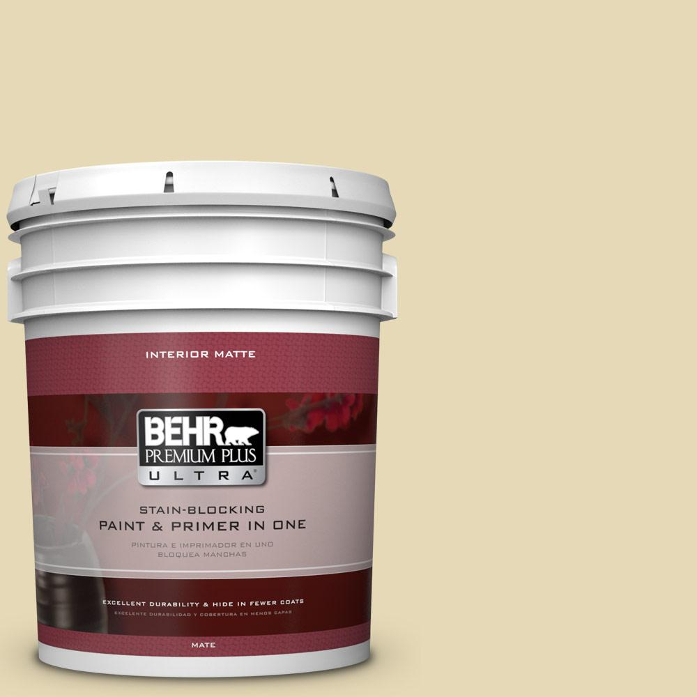 BEHR Premium Plus Ultra 5 gal. #PPU8-13 Lemon Balm Matte Interior Paint and Primer in One