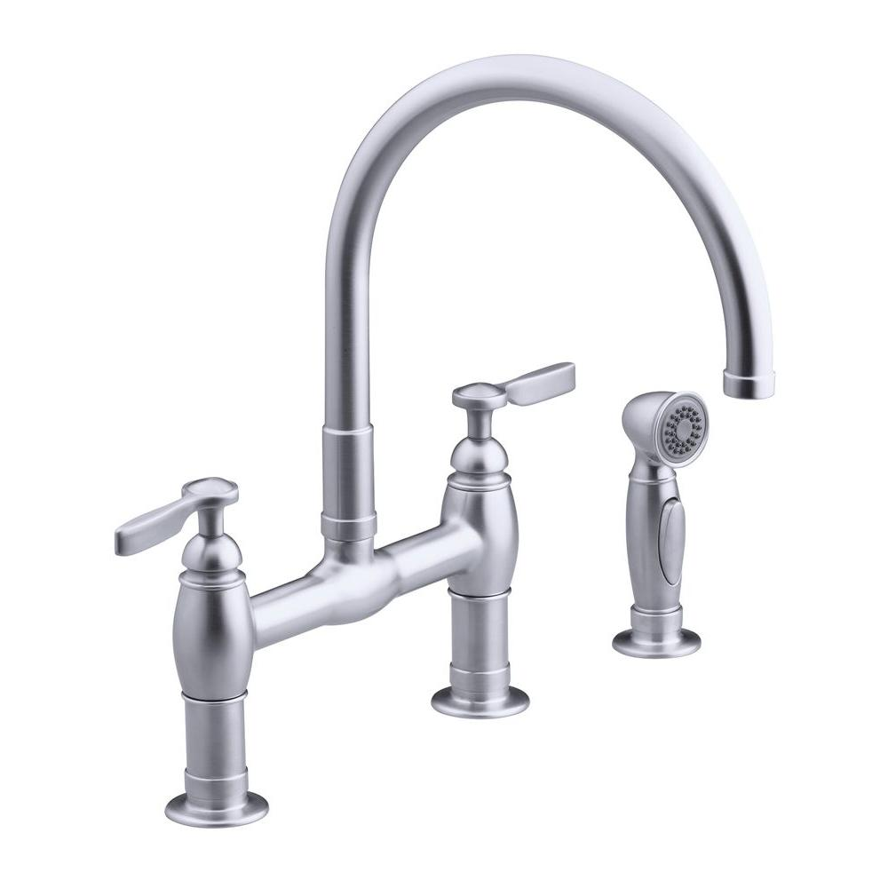 KOHLER Parq 2 Handle Bridge Kitchen Faucet with Side Sprayer in