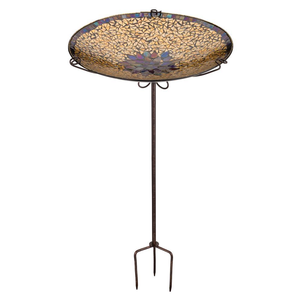 Regal Mosaic Birdbath/Feeder Stake - Golden Sun-20388 - The Home Depot