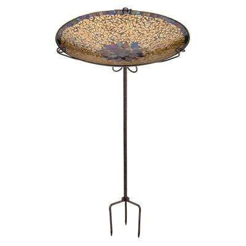 Mosaic Birdbath/Feeder Stake - Golden Sun