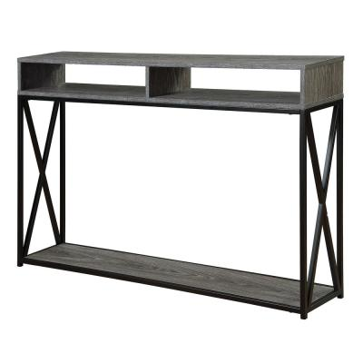 Tucson 48 in. Weathered Gray/Black Standard Rectangle Console Table with Shelves